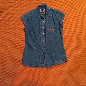 Medium Button-up Jeans Harley Davidson Shirt